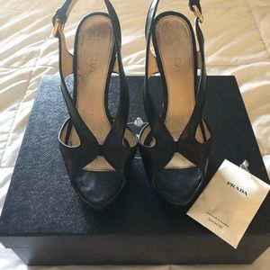 Prada  Retro Sling Back Black Heels 36.5